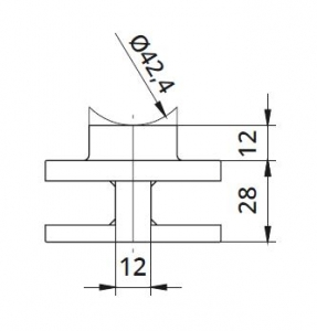 Clema dubla Ø60x28 mm fixare pe teava rotunda1