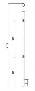 Montant intermediar patrat echipat pentru sticla fixare pe laterala1