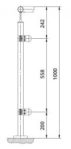 Montant de colt patrat echipat pentru sticla fixare pe pardoseala [1]