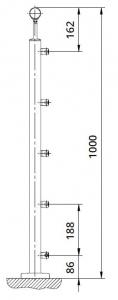 Montant patrat echipat pentru cablu fixare pe pardoseala [1]