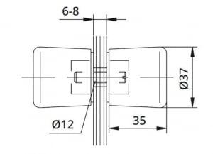 Buton Cristal usa cabina dus sticla 6-8 mm1