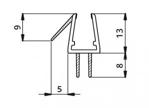 Garnitura ultraclara cu 2 benzi pe mijloc cabina dus sticla 8 mm1