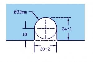 Contraplaca sticla GL 52/K pentru zavor inferior/superior cu buton GL 521