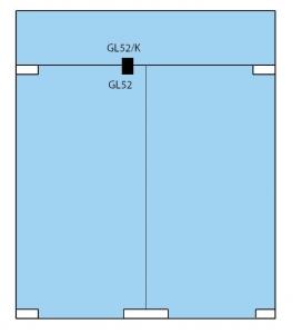 Contraplaca sticla GL 52/K pentru zavor inferior/superior cu buton GL 522