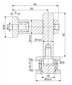 Conector 90° reglabil perete/sticla 12,76-17,52 mm1