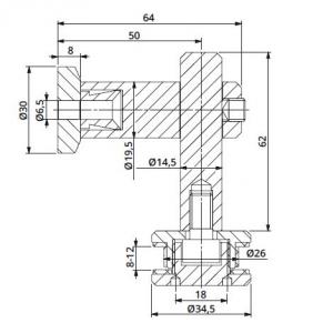 Conector 90° reglabil perete/sticla 8-12 mm1