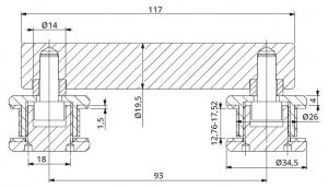 Conector dublu la 180° sticla/sticla 12,76-17,52 mm1