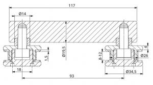 Conector dublu la 180° sticla/sticla 8-12 mm1