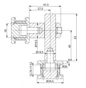 Conector dublu reglabil la 90° sticla/sticla 12,76-17,52 mm1