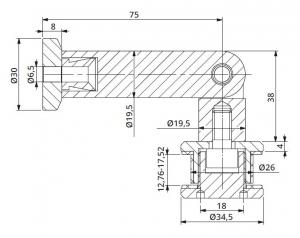 Conector unghi ajustabil perete/sticla 12,76-17,52 mm1