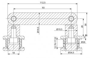 Conector dublu unghi ajustabil la 180° sticla/sticla 12,76-17,52 mm1