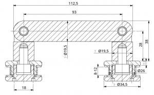 Conector dublu unghi ajustabil la 180° sticla/sticla 8-12 mm1