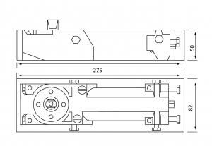 Amortizor pardoseala deschidere max 180° EN 1-4 8460 V3