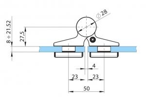 Balama hidraulica Biloba EVO cu blocare 90°/180° fixare pe sticla3