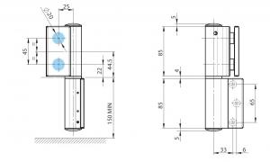 Balama hidraulica Biloba EVO SOL fara blocare fixare pe perete2