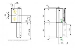 Balama hidraulica Biloba EVO cu blocare 90°/180° fixare pe perete2