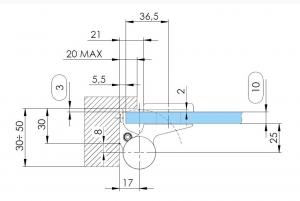 Balama hidraulica Biloba EVO Frame cu blocare 90°/180° fixare pe toc aluminiu4