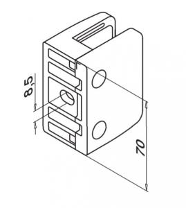 Clema MOD 24 fixare pe drept pentru montant balustrada sticla 9,52-17,52 mm1