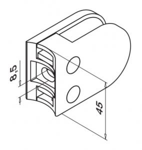 Clema MOD 22 fixare pe rotund pentru montant balustrada sticla 6-10 mm1