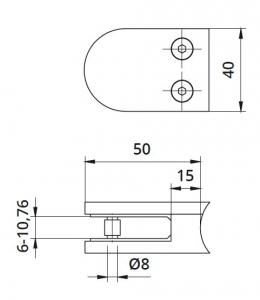 Clema MOD 20 fixare pe rotund pentru montant balustrada sticla 6-10,76 mm1