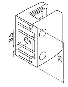 Clema MOD 23 fixare pe drept pentru montant balustrada sticla 19-21,52 mm1