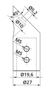 Conector 45° bara stabilizare cabina dus teava/perete1