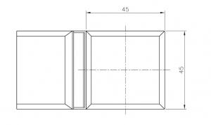 Conector cabina dus sticla/sticla 135°1