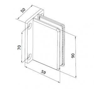 Conector cabina dus perete/sticla S1000 SHH 3061