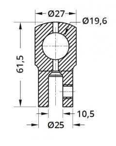 Conector cu trecere 180° bara stabilizare cabina dus teava/sticla1