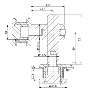 Conector dublu reglabil la 90° sticla/sticla 8-12 mm1