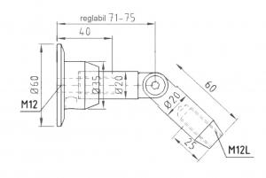 Conector superior perete/tija copertina sticla 17,52-21,52 mm1