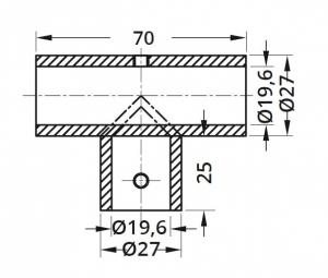 Conector T bara stabilizare cabina dus teava/teava1