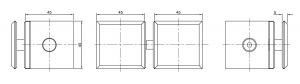 Conector T cabina dus sticla/sticla 90°/180° [1]