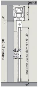 CS80 Magneo Dorma cu sistem glisare fixare sticla in profil montaj perete1