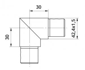 Imbinare verticala 90° mana curenta profilata Ø42,4 mm1