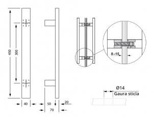 Maner rectangular, 40x20 mm1