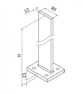 Montant profil mana curenta Easy Glass® Hybrid, H=1040 mm2