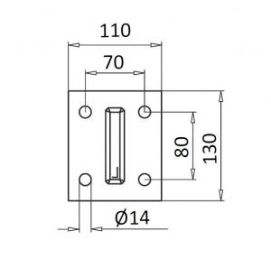Montant profil mana curenta Easy Glass® Hybrid, H=1040 mm1