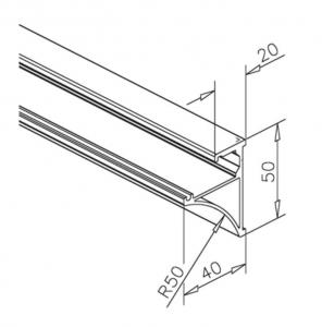 Set profil suport polita sticla 8 mm, L=1000 mm [1]