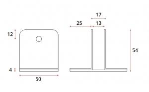 Conector inferior cu talpa 90° sticla/HPL 10-13 mm compartimentare toaleta1