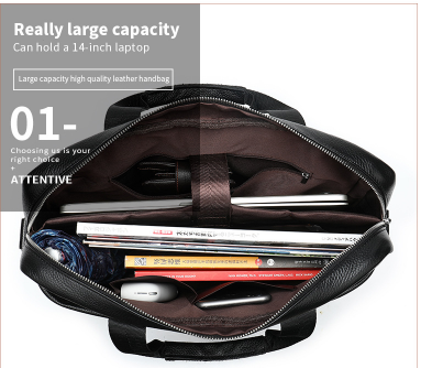 Geanta laptop barbati piele neagra Neil 3