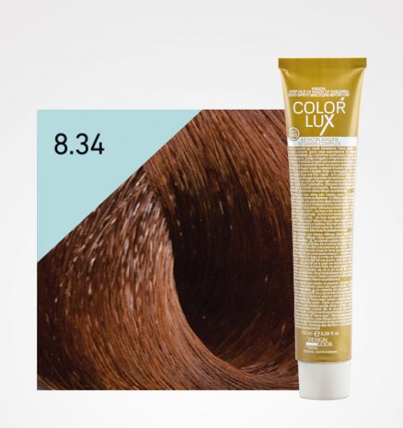 Vopsea de par blond auriu aramiu deschis 8.34 Color Lux 100 ml 0