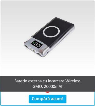 Baterie externa cu incarcare Wireless, GMO, 20000mAh