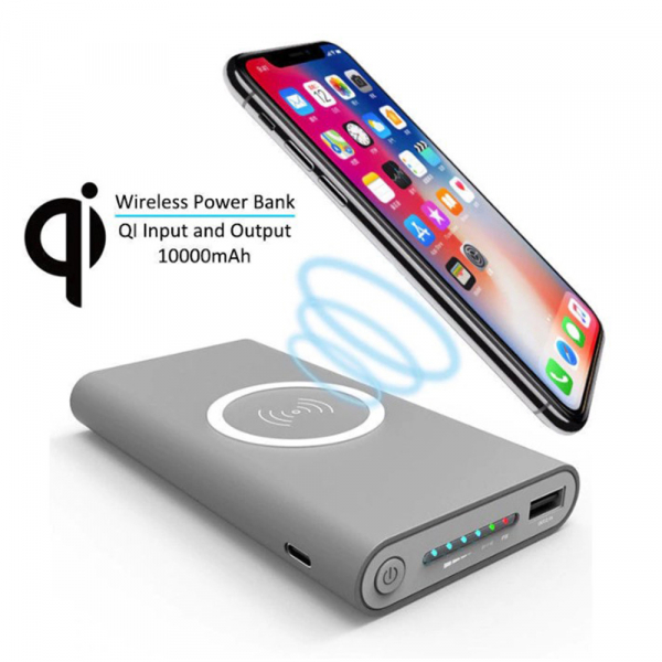 Baterie externa cu incarcare Wireless, GMO, Smart Power Bank, 10000mAh, compatibil cu USB Type C si Micro USB 1