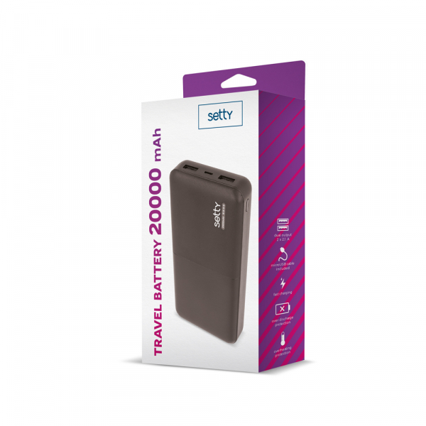 Power Bank 20000 mAh, GMO, Setty, negru 1