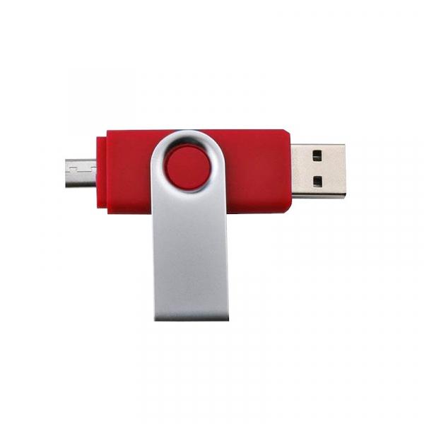 Stick de memorie cu USB 2.0 si micro USB, GMO, 32GB, rosu 0
