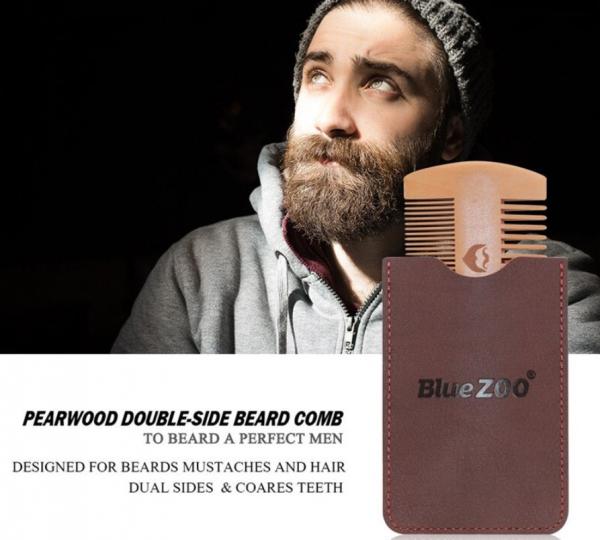 Pieptene de barba si mustata, GMO, Duo Blue-Zoo, anti-static 3