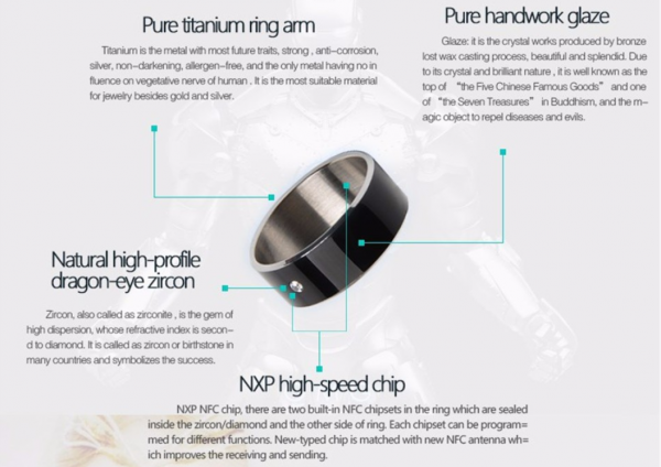 Inel smart NFC, GMO, Diamant, numarul 9 1
