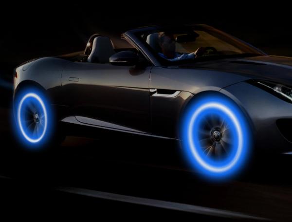 Set doua bucati capace ventil cu senzor, baterii si lumina LED albastra, RunGlow 4