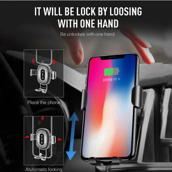 Suport de telefon auto cu incarcare wireless, GMO, 10W, negru 4